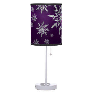 Purple Christmas stars with white ice crystal Table Lamp