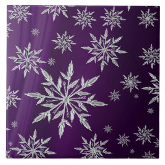 Purple Christmas stars with white ice crystal Tile
