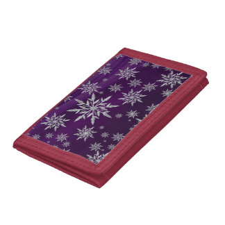 Purple Christmas stars with white ice crystal Tri-fold Wallet