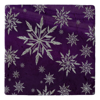 Purple Christmas stars with white ice crystal Trivet