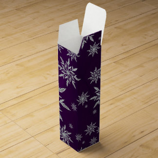 Purple Christmas stars with white ice crystal Wine Box