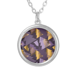 purple christmas trees silver plated necklace