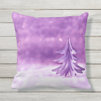 Purple Christmas Wonderland Outdoor Pillow