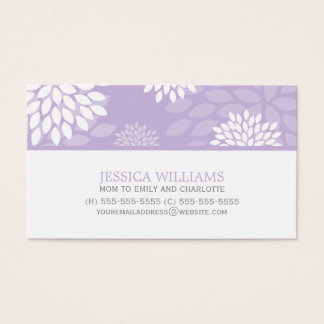 Purple Chrysanthemums Floral Pattern Business Card