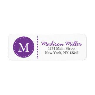 Purple Circle Dots Custom Monogram Return Address Label