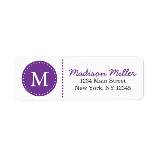 Purple Circle Dots Custom Monogram Return Address Label