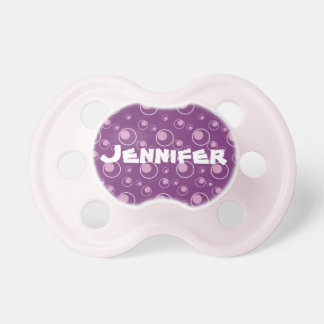 Purple Circle Pattern Custom Baby Name Pacifier