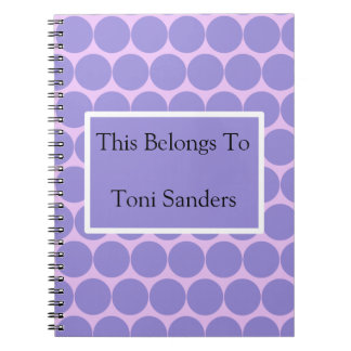 Purple Circles and Purple and White Rectangle Notebook