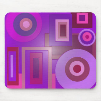 purple circles and squares mouse pad