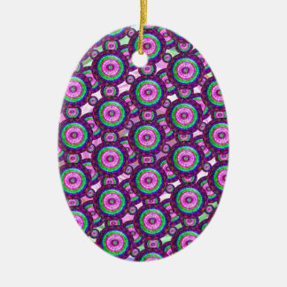 Purple circles ceramic oval ornament