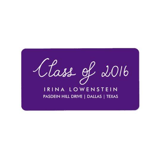 Purple Class Of 2016 Typography Graduation