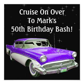 "Purple Classic Muscle Car Birthday Bash 5.25"" Square Invitation Card"