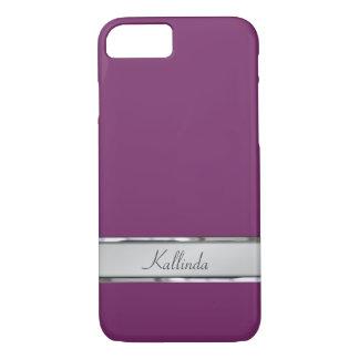 Purple Classy Metal Name Plate iPhone 7 Case
