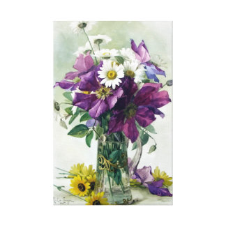 Purple Clematis Gallery Wrapped Canvas