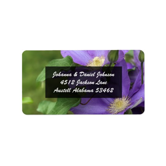 Purple Clematis Flower Address Labels