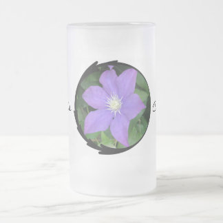 Purple Clematis Frosted Glass Mug