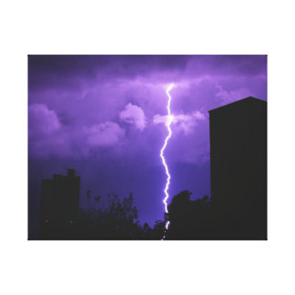 Purple Clouds Lightening Color Canvas Print