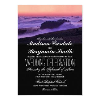 Purple Clouds Sunset Mountain Wedding Invitations