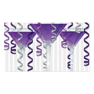 Purple cocktail and ribbon business card