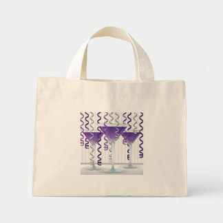 Purple cocktail and ribbon mini tote bag