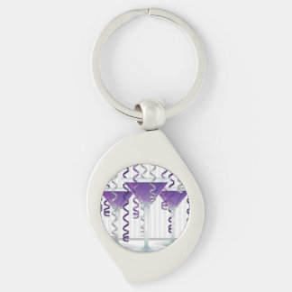 Purple cocktail and ribbon Silver-Colored swirl keychain