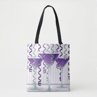 Purple cocktail and ribbon tote bag