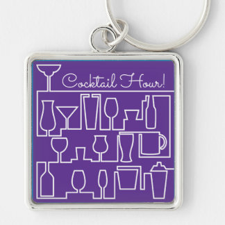 Purple cocktail party keychain