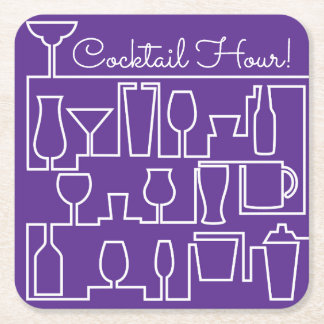 Purple cocktail party square paper coaster