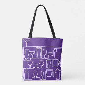 Purple cocktail party tote bag