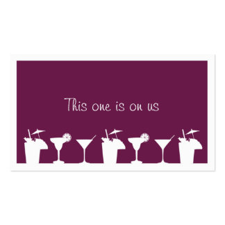 Purple cocktail wedding event custom drink ticket business card