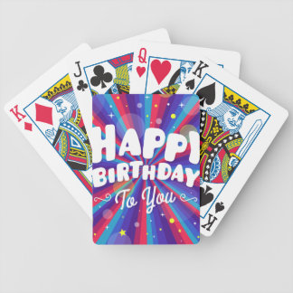 Purple Color burst happy birthday to you Bicycle Playing Cards