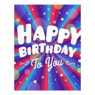 Purple Color burst happy birthday to you Letterhead