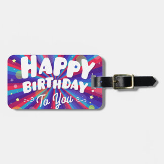 Purple Color burst happy birthday to you Luggage Tag