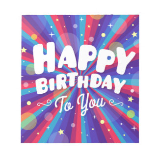 Purple Color burst happy birthday to you Notepad