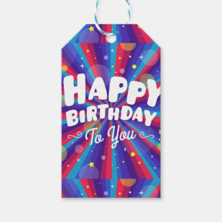 Purple Color burst happy birthday to you Pack Of Gift Tags