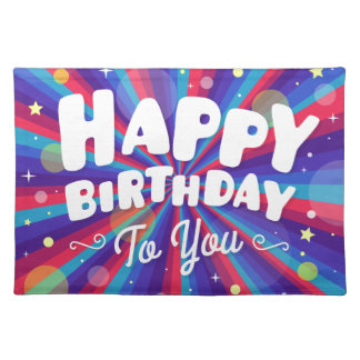 Purple Color burst happy birthday to you Placemat