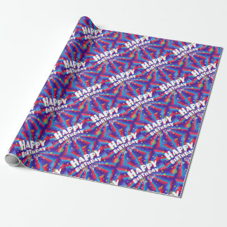 Purple Color burst happy birthday to you Wrapping Paper