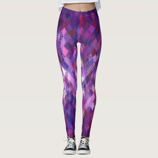 Purple Colour-Mix Harlequin Pattern Leggings