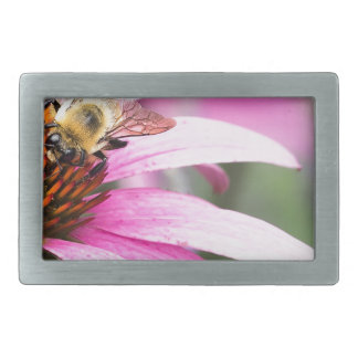 Purple Cone Flower with Bee Belt Buckle