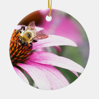 Purple Cone Flower with Bee Ceramic Ornament