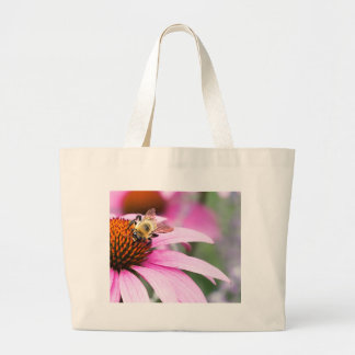 Purple Cone Flower with Bee Large Tote Bag