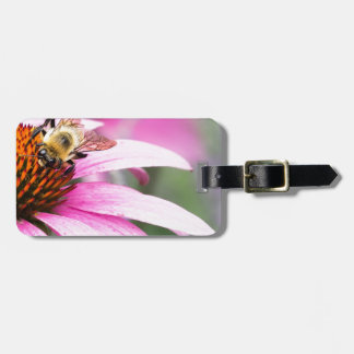Purple Cone Flower with Bee Luggage Tag