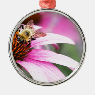 Purple Cone Flower with Bee Metal Ornament