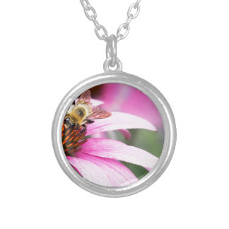 Purple Cone Flower with Bee Silver Plated Necklace