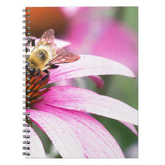 Purple Cone Flower with Bee Spiral Notebook