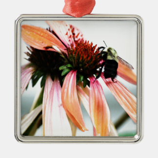 Purple Coneflower And Bee Silver-Colored Square Ornament
