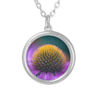 Purple coneflower (Echinacea purpurea) Silver Plated Necklace