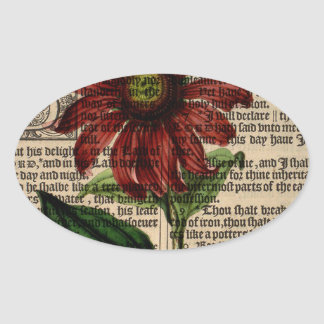 Purple Coneflower Flower Oval Sticker