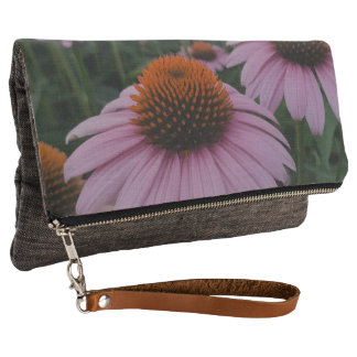Purple Coneflower Fold over clutch