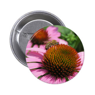 Purple Coneflower with Bee 2 Inch Round Button